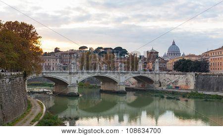 Bridge Of Vittorio Emmanuel Ii And St.peter's Basilica