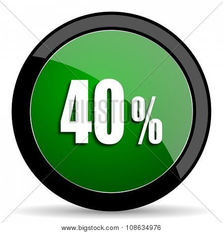 40 percent green web glossy circle icon on white background