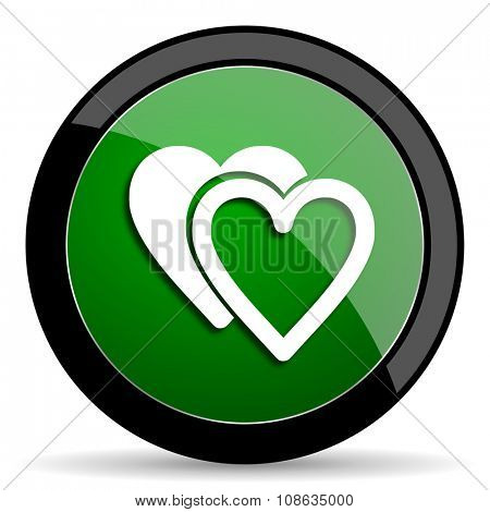 love green web glossy circle icon on white background
