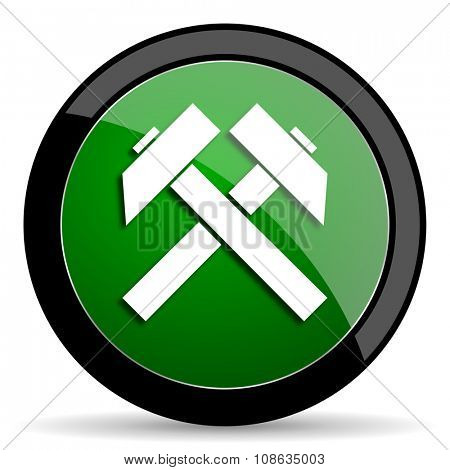 mining green web glossy circle icon on white background