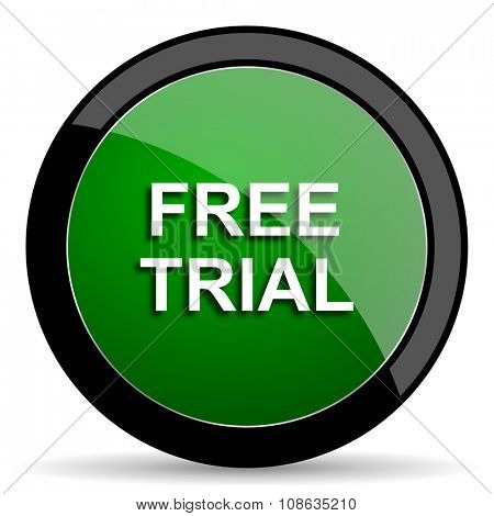free trial green web glossy circle icon on white background