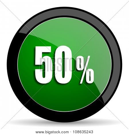 50 percent green web glossy circle icon on white background