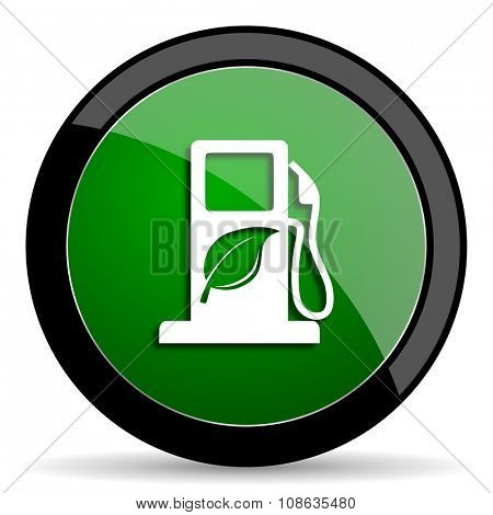 biofuel green web glossy circle icon on white background