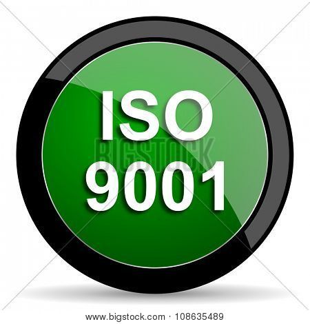 iso 9001 green web glossy circle icon on white background