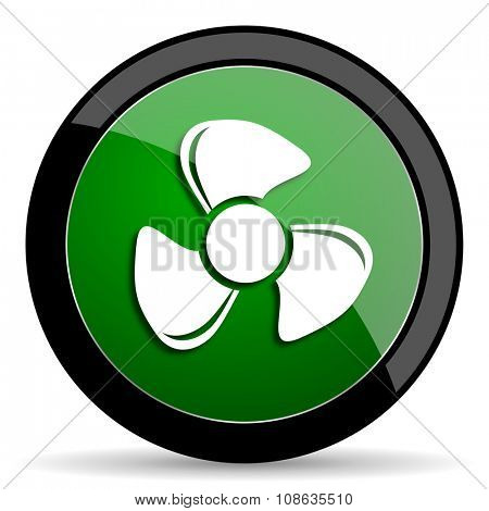 fan green web glossy circle icon on white background