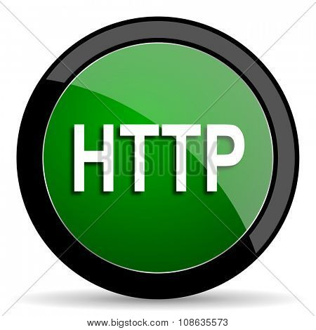 http green web glossy circle icon on white background