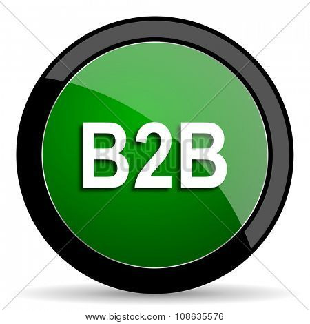 b2b green web glossy circle icon on white background