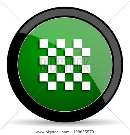 chess green web glossy circle icon on white background