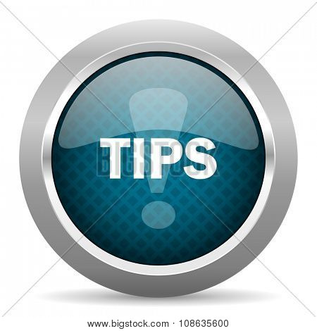tips blue silver chrome border icon on white background