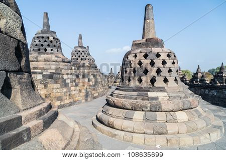 Buddhist Stupas At The Top Of The Borobudur  Temple