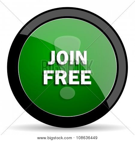 join free green web glossy circle icon on white background