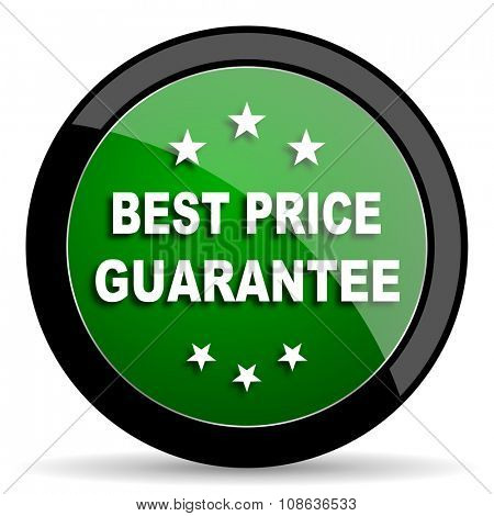 best price guarantee green web glossy circle icon on white background