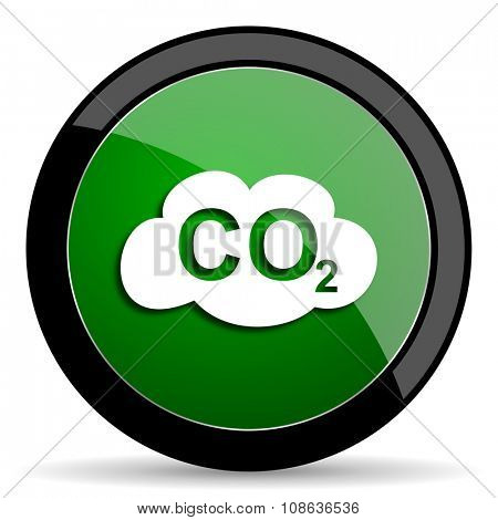 carbon dioxide green web glossy circle icon on white background