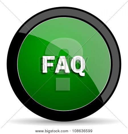 faq green web glossy circle icon on white background