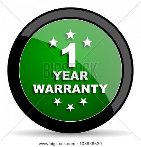warranty guarantee 1 year green web glossy circle icon on white background