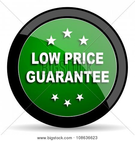 low price guarantee green web glossy circle icon on white background
