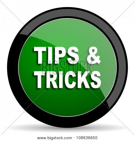 tips tricks green web glossy circle icon on white background