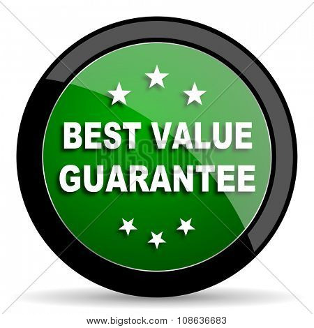 best value guarantee green web glossy circle icon on white background