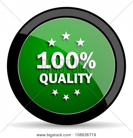 quality green web glossy circle icon on white background