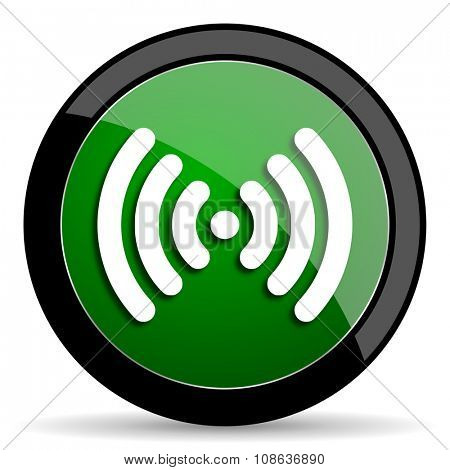wifi green web glossy circle icon on white background