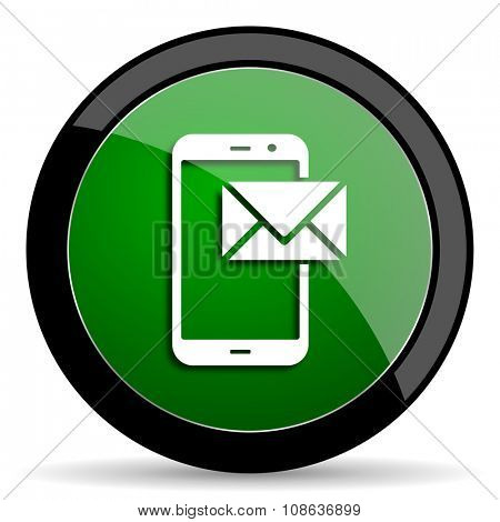 mail green web glossy circle icon on white background