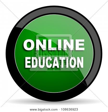 online education green web glossy circle icon on white background