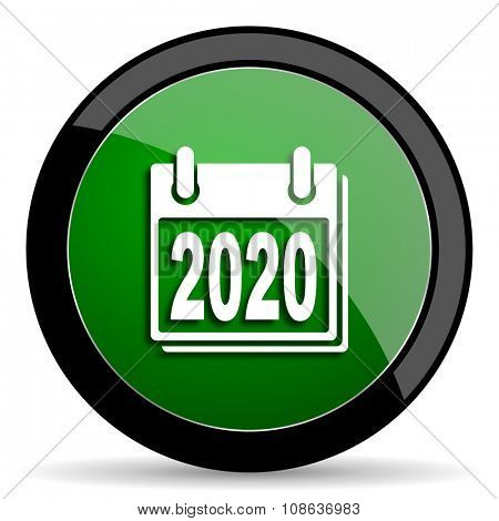 new year 2020 green web glossy circle icon on white background
