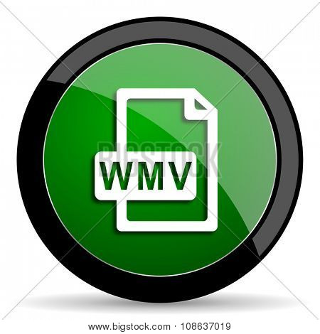 wmv file green web glossy circle icon on white background