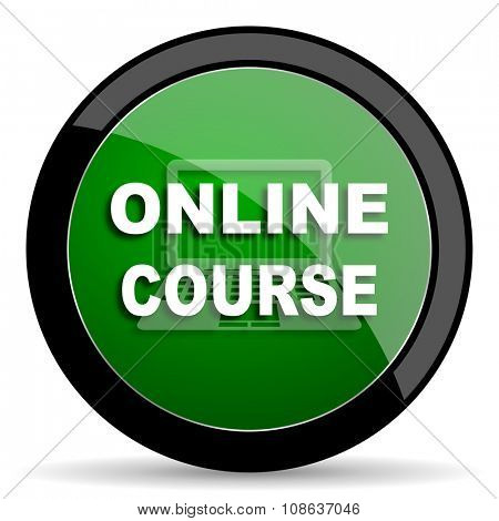 online course green web glossy circle icon on white background