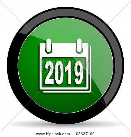 new year 2019 green web glossy circle icon on white background