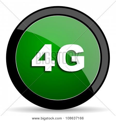 4g green web glossy circle icon on white background