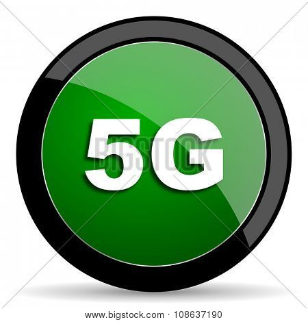 5g green web glossy circle icon on white background