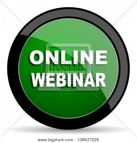 online webinar green web glossy circle icon on white background