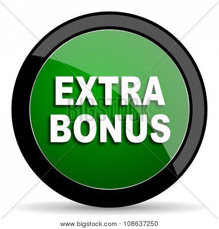 extra bonus green web glossy circle icon on white background