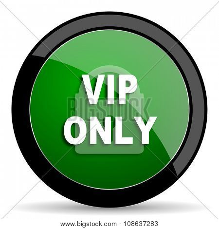 vip only green web glossy circle icon on white background