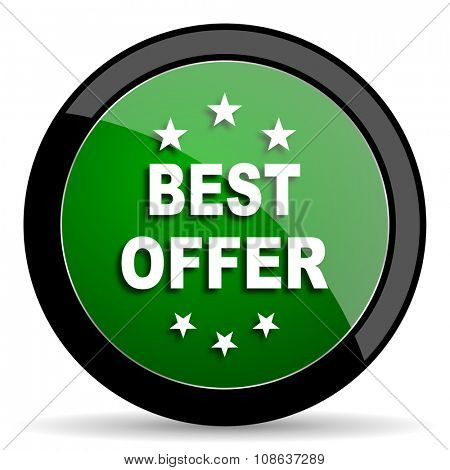 best offer green web glossy circle icon on white background