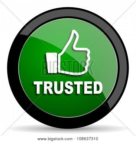 trusted green web glossy circle icon on white background