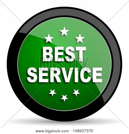 best service green web glossy circle icon on white background