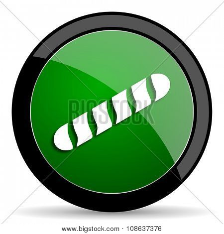 baguette green web glossy circle icon on white background