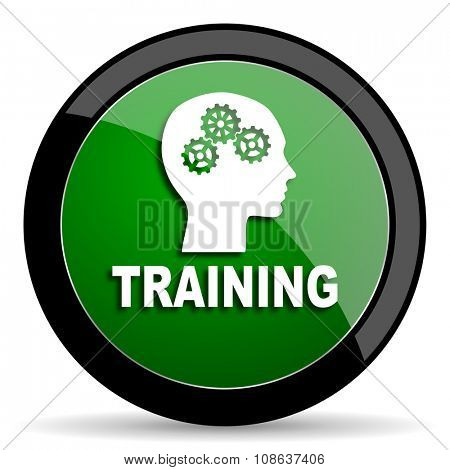 training green web glossy circle icon on white background