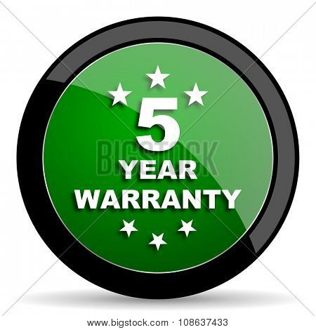 warranty guarantee 5 year green web glossy circle icon on white background