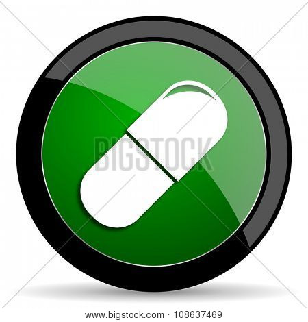 drugs green web glossy circle icon on white background