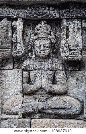Buddha Bas-reliefs At The Walls Of Borobudur  Temple