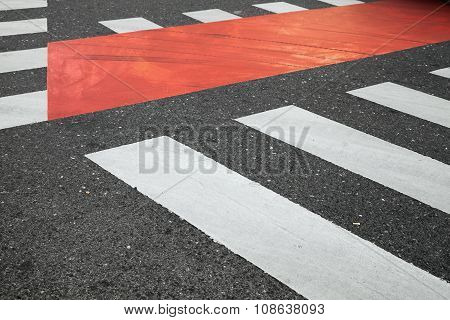 White And Red Pedestrian Crossing Road Marking