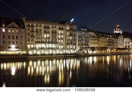 Night photos of City of Lucern and Reuss River