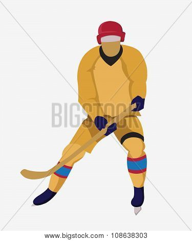 Hockey Player With A Hockey Stick And Skates