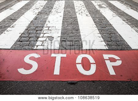 Pedestrian Crossing Road Marking And Red Stop Line