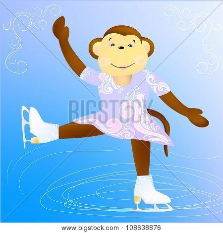 Monkey figure skater
