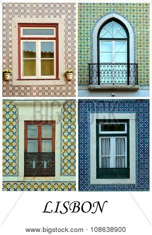 A collage of Portuguese windows presented in a white border with the city name Lisbon.