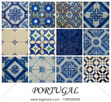 Collage of different blue pattern tiles in Lisbon, Portugal